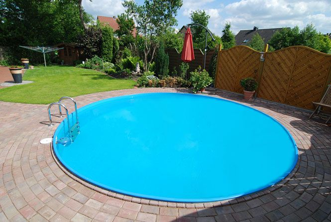 550 x 150 cm poolfolie rundbecken 0 8 mm blau online for Poolfolie blau